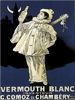 Blanc Vermouth (9406.Vermouth blanc inventeur.white jester.drink.POSTER.decor Home Office)