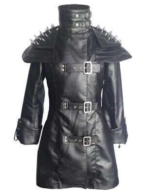 Steampunk Jacket Mens (Mens Real Black Leather Trench Steampunk Duster Coat Winter Motorbike)