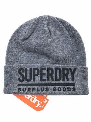 Superdry Dark Gray/ Black Surplus Goods Logo Turn Up Hem Beanie Hat Cap