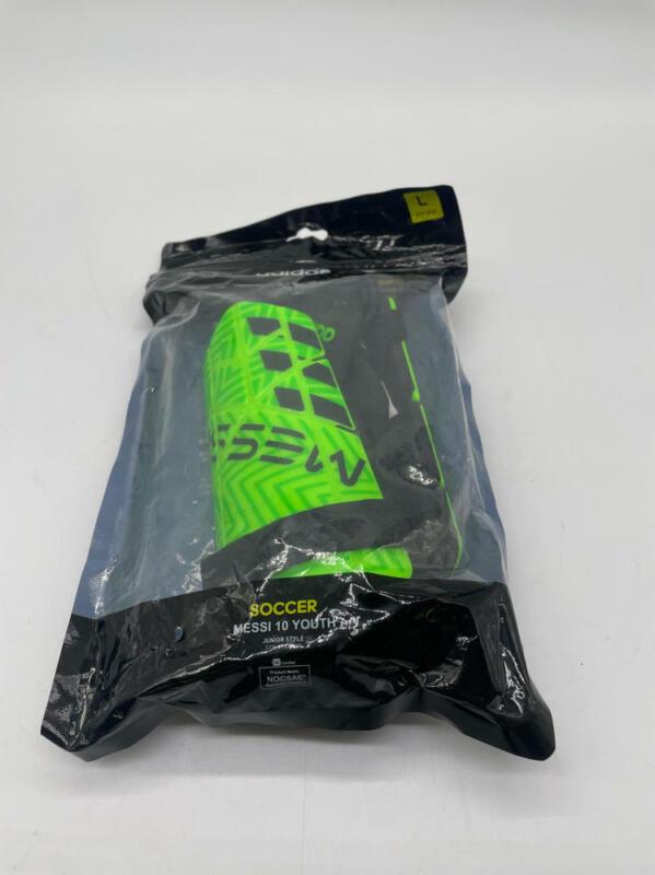 adidas F1806SG012N Messi Youth Shinguard, Solar Green/Solar Lime/Black, Large