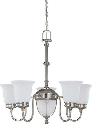 Brushed Nickel 5+2 Light Chandelier With Frosted Linen Glass