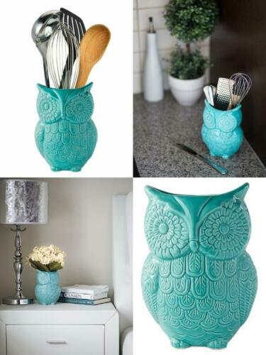 Owl Utensil Caddy Holder Decorative Ceramic Cookware Crock O