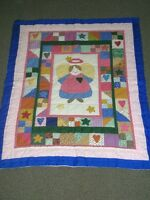 "NEW ANGEL BABY GIRL CRIB QUILT - LARGE 40"" X 52"""