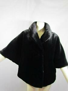 New  Vintage Authentic Calvin Klein Black Faux Fur Short Swing Coat Jacket Sz XL