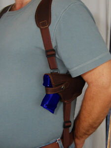 Brown-Leather-Shoulder-Holster-w-Double-Magazine-for-Taurus-24-7-Compact
