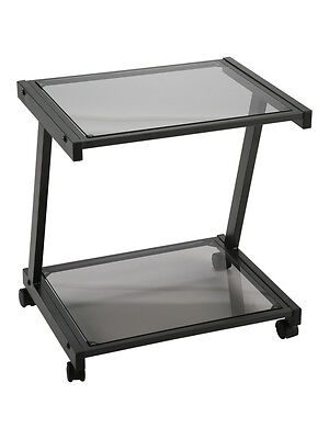 New Black Metal Black Glass Mobile Computer Printer Cart On Wheels Rta 2 Tiers