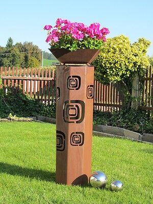 8eck säule rost retro säule edelrost metall gartendeko rost deko, Garten und Bauten