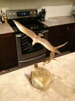 Large Brass Seagulls Flying Sculpture on Quartz Rock Base