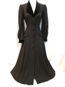 VINTAGE-LAURA-ASHLEY-RIDING-COAT-VICTORIAN-MISTRESS-EDWARDIAN-DRESS-40s-30s-VAMP