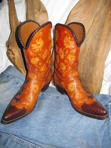 AMMONS Cowboy Boots Teju Lizard Alligator Exotic Skins USA Vtg