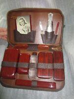vintage men's toiletry set in leather case