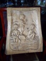 Wood carving plaque