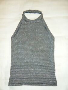 Club Monaco Metallic Silver/black dressy halter top Womens XS
