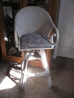 UNIQUE WEAVED BLEACHED CANE & TAPESTRY SWIVEL HIGH STOOL