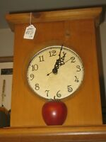 LARGE Wood Clock w/ Apple @ Perfect time/battery operated $15