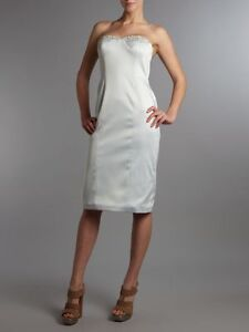 PIED-A-TERRE-LUXURY-PALE-SILVER-EMBELLISHED-STRAPLESS-DRESS-BNWT-RETAIL-195-SIZ