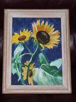 """Superbe peinture à l'acrylique «Joyeux tournesols» 14""""x11"""" décor"""
