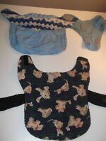 Two small dog coats, one fall, one winter (blue)