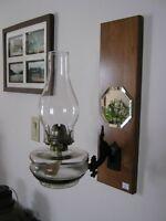 Antique Oil Lamp - Bracket & Plaque