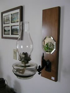 Antique Oil Lamp - Bracket & Plaque