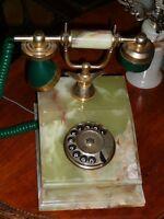 Superbe téléphone antique/1950, style Art Deco en onyx marbré