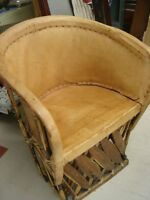 "LEATHER (BUFFALO HIDE) TUB CHAIR MATCHING TABLE ""UNIQUE"""
