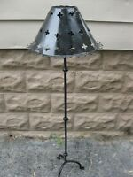 ANTIQUE WROUGHT IRON CANDLE FLOOR STAND & SHADE