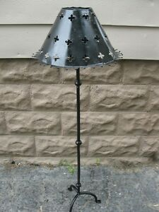 ANTIQUE! WROUGHT IRON CANDLE FLOOR STAND & SHADE