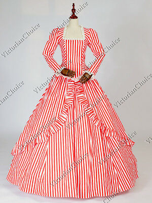 Gone With Wind Costumes (Civil War Gone with the Wind Red Striped Holiday Gown Mary Poppins Dress)