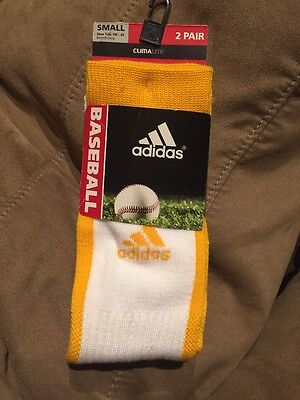 Compression Baseball Socks - 2 PAIRS ADIDAS BASEBALL SOCKS  CLIMALITE CUSHIONED COMPRESSION YELLOW SMALL