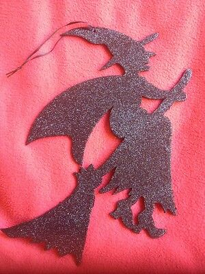 Bethany Lowe Halloween Glittered Silhouette Witch--retired