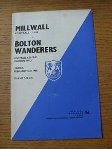 16-02-1968-Millwall-v-Bolton-Wanderers-Light-Crease-Score-Noted-Inside