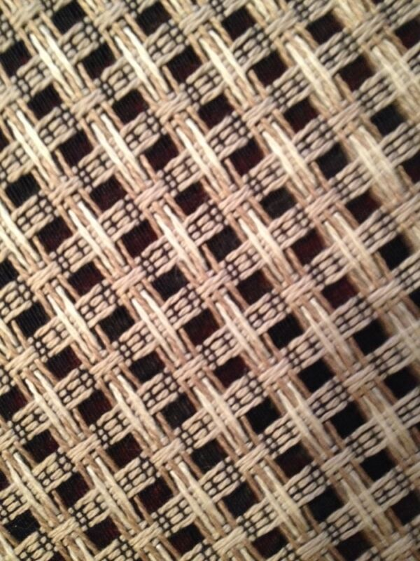 ":Large Bergamo 52"" x 58"" Fabric Linen Silk? Black Cream Check Semi Sheer Perfect"