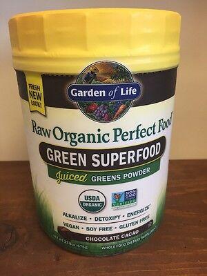 Garden of Life Perfect Food Chocolate Cacao RAW Organic Green Super Food 23.8oz