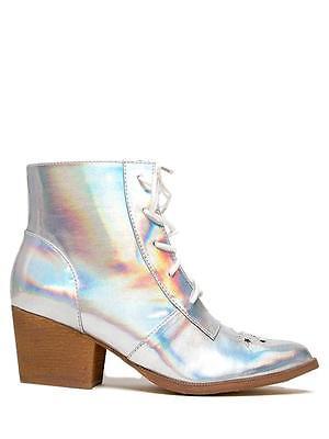 Hexe Erwachsene Damen Stiefel (Yru Jugend Ausfahrbarer Aura Silber Hologramm Damen Hexe Stiefel Schuhe Stars)