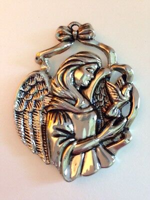 Gorham Silver Plated  Angel With Dove Ornament Free Shipping