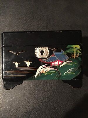 Vintage Musical Asian Jewelry Box Black