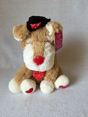 Animated Musical Valentines Brown Dog With Hat Plush Stuff Animal ~10