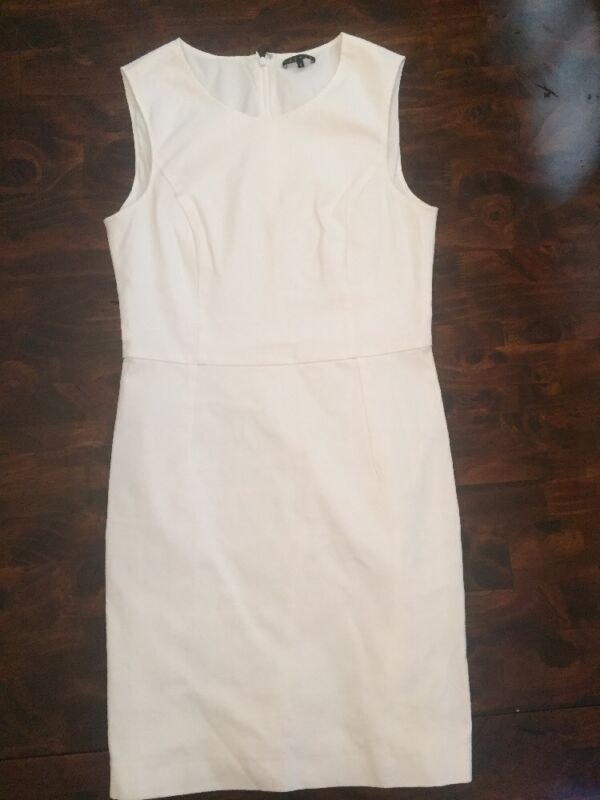 Women's Theory White Diamit Bi-Stretch Sleeveless Cotton Dress Size 6 Read Info