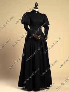 Victorian Gothic Black Dress Steampunk Wicked Witch Halloween Costume N 006 M