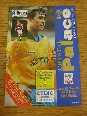 25/02/1995 Crystal Palace v Arsenal  (Excellent Condition)