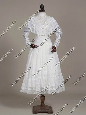 Victorian White Lace Overlay Wedding Dress Ghost Bride Adult Halloween N 030
