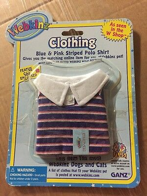 Webkinz Clothing Blue & Pink Striped Polo Shirt With Online Code From Ganz Plush - Blue Code Clothing