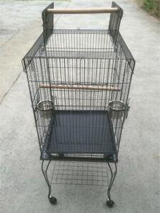 Pet Bird Cage Parrot Budgie Canary Aviary Open Roof with Wheel
