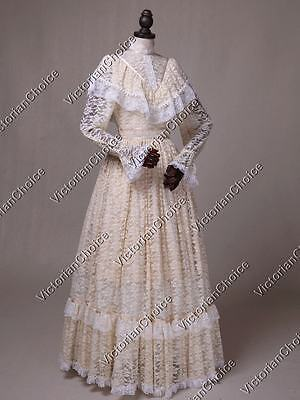 (Victorian Vintage Ivory Lace Wedding Special Occasion Dress Theatrical Gown 392)