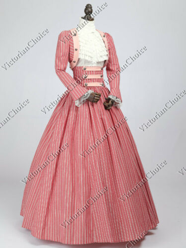 Victorian Civil War Dickens Pink Candy Stripes Dress 3PC Reenactment Gown 187