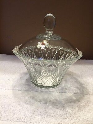 Vintage Fancy Cut Glass Bowl With Clear Glass Lid