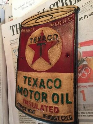 """Texaco Oil Metal Sign Antique Style Metal Cast Advertisement Gas Over 1/4"""" Thick"""