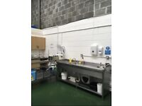 Stainless steel double sink and matching workbench