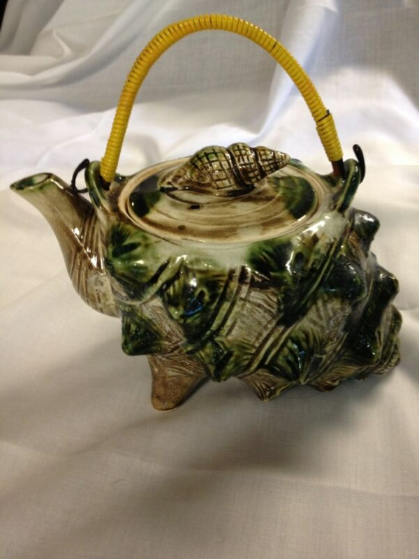 "Vintage 7.5"" Long Green Brown  White Conch Shaped Ceramic Teapot Japan"